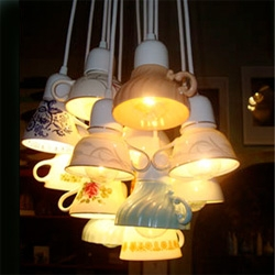 "Domestic Construction's ""Ted Lights"" are made from recycled teacups -- you can get 'em in singles or clusters"