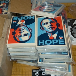 Shepard Fairey's Obama HOPE Stickers ~ spread the word ~ 10 packs are being sold at cost! Only 10$. And they are that perfect postcard 4x6 size...