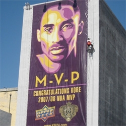 Shepard Fairey created Kobe Bryant 'MVP' and 'KOBE' Lithograph ~ and even covered the side of a building with it for Upperdeck!
