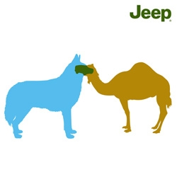 JEEP has an awesome ven diagram  like ad campaign where the overlap of camel and husky is a jeep... also see the bushman and eskimo.