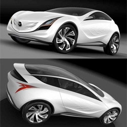 "Mazda presents yet another concept car. Kazamai which means ""swirling crosswinds"" in Japanese. Were it to be built, Mazda's latest show car would deliver exciting driving dynamics, frugal fuel consumption and greatly reduced CO2 emissions."
