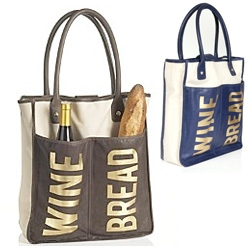 "Bread & Wine ~ one of our fav bag designers, Rebecca Minkoff joined in the ""reusable shopping bag"" trend ~ How can you not grab a bottle and a loaf with this one on your arm?"