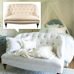 House Inc ~ while i tend to lean super minimal modern, i'm so drawn to this Love Seat in House Inc's Paris Collection