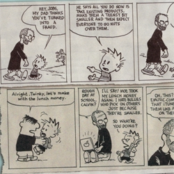 Hahaha, Mad Magazine apparently mashed Steve Jobs into some Calvin and Hobbes strips... creating the hilarious Calvin and Jobs!