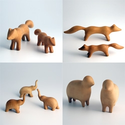 Super cute woody animals - sculpted wooden animals