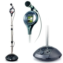 Memorex SingStand - speakers, microphone, stand, and your mp3 player plugs right in!