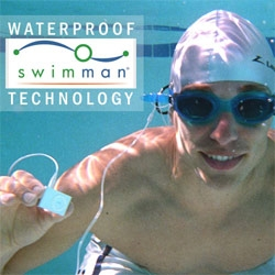 Completely waterproofed ipod shuffles and headphones! Swimman