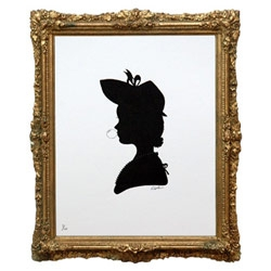 One in a series of three silhouette portraits, each inspired by Victorian designs, depicted in the traditional style but with a modern twist!