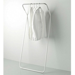 "The ""Lean-On"" self-standing closet rod, designed by Peter Van de Water for Cascando ~ gorgeously simple ~ also take a look as cascando's other minimalist hanging racks"