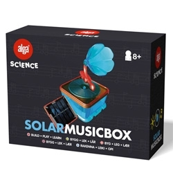 Alga Science is a series of 14 edutainment toys from Swedish Alga. The toys teach how weather, wind, chemistry, water and electricity works. And when the toys are but together you get a working product, such as a solar music box!