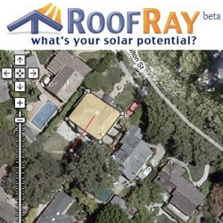Roof Ray! This little web 2.0 widget helps you calculate and estimate how much sun/energy your house could potentially collect and save you! Nice mash up with google maps to let you outline your house and choose slant direction of your roof