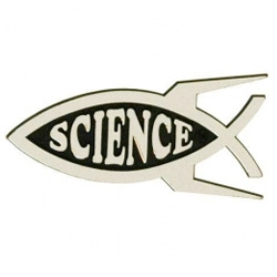 Cute science fish emblem.  Now I totally want a little rocket ship on my car.