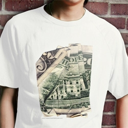 """Hope In The White House"" ~ remember Dan Tague's prints of messages made of folded money? They are now on tees!"