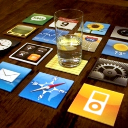 These icon coasters are a great gift for any iPhone addict. Created by the guys over at Brazil's Meninos design.