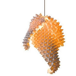 Design by Filipino designer Luisa Robinson, Dragon's tail floor & hanging lamp is a result of glowing creations form of nostalgic childhood games and memories of dragon stories.