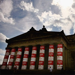 To coincide with the 20th anniversary of Andy Warhol's death, the National Gallery of Scotland has a huge exhibition on and soup canned the columns - see the great slideshow