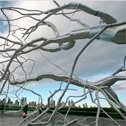 Roxy Paine's Maelstrom is a gleaming arboreal spawl at the Cantor Roof Garden on the roof of the Metropolitan Museum of Art.