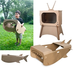 New cardboard creations from Ben Blanc studio ~ love the playful shark and retro TV!