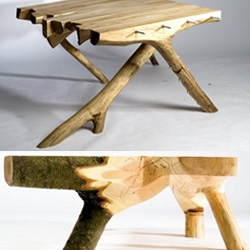 Bram Hendriks creates incredibly beautiful wooden furniture that features natural details like live moss on bark and industrial decorative details like screws (which also serve a functional purpose) arranged in a studded fashion.