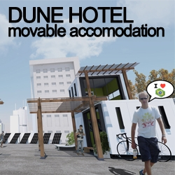 Dune Hotel is a physical-digital solution that is made possible through internet and a network of host capsules that are installed anywhere in the world, appropriating the underused spaces with tourism potential.