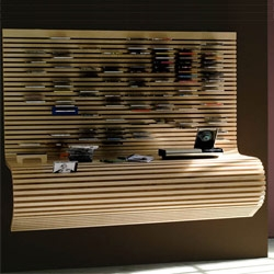 Flex combines a desktop workspace with the possibility to store your CD's in the top part of the maple wall console. Design by Lorenzo Damiani