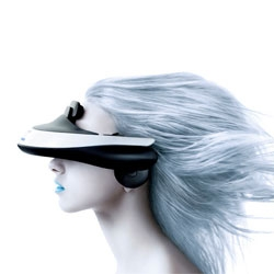 Sony's Personal 3D Viewer, the HMZ-T1, a wearable head mounted display for viewing movies or playing video games in 3D-enabled High Definition.