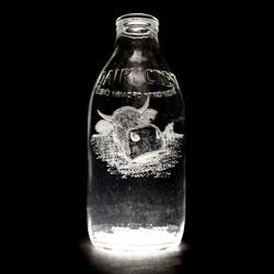 Engraved milk bottles by Charlotte Hughes Martin.