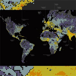 Dencity, a map of global population density.