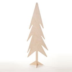 A plywood tree by architect Pierre Thibault.