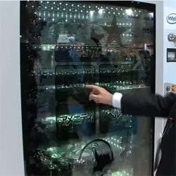 Concept vending machine with a great see through digital touch screen display.