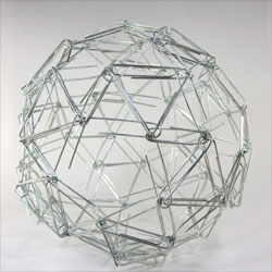 Zachary Abel's mathematical sculptures include this Paperclip Snub Dodecahedron.