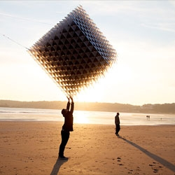 """Little Shining Man"", a kite with 1700 3d printed connectors, carbon fibre rods and cubenfibre aerospace fabric. Conceived by Heather and Ivan Morison, designed by Sash Reading, engineered and fabricated by Queen & Crawford."
