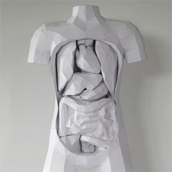 Horst Klechle created this incredible paper torso with removable organs for the Science Lab of the International School Nadi, Fiji. The sculpture is composed entirely from 200gsm white card.