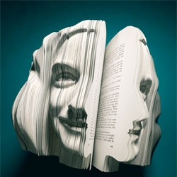 Van Wantern Etcetera agency's written portraits with autobiographical works carved to create the author's face.