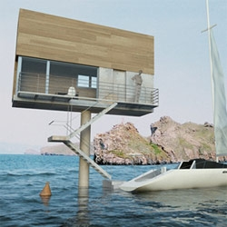 The Single Hauz by Poland's Front Architects really is a house on a stick... ready for oceans, fields, floods, etc.