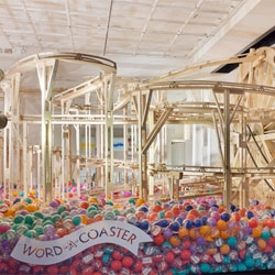 Words Words Words at Selfridges. Love the word-a-coaster, part of the collaboration between It's Nice That and Stewdio.
