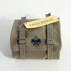 Adorable tiny sewing kit styled after a boy scout sleeping bag by Victoria Caswell.