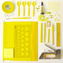 Beautifully organized studio supplies by Kontor Kontur.