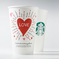 Starbucks' Valentine's day cups, part of a Valentines Day campaign from Starbucks Global Creative and global digital marketing team.