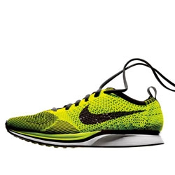 This July, Nike will be releasing the Flyknit Racer. The new running shoe model will weigh in at just 5.6 oz for a size 9, almost as light as an iPhone 4S.