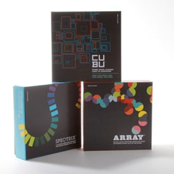 Funnybone toys' card games that foster an appreciation of color: Array, Cubu and Spectrix.