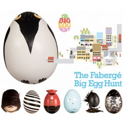 London has become home to over 200 eggs as part of The Big Egg Hunt presented by Fabergé. Take a look at the gorgeous identity work by Fallon, fun pop up shop in Selfridges and a few of our favorite eggs!