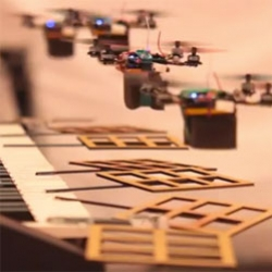 "The ""James Bond Theme"" Performed By Flying Robot Quadrotor Robots by Daniel Mellinger and Alex Kushleyev from Penn's School of Engineering and Applied Science."