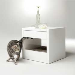 Minimalist side table/pet bed from Binq Design.