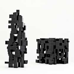 "'Black Geometric"" sculptures by Danish artist Steen Ipsen in Copenhagen Ceramics."