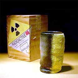 Michio Fujiwara - ceramic tea cup - heated to cone 10 temperature in 6 seconds by a nuclear blast in Heroshima, Japan, 1945. No other like it exist.