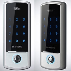 No it's not the next iPhone wannabe. But an elegant Samsung touchscreen padlock available in Korea.