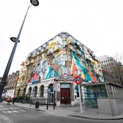 The company behind Karpo restaurant and the Megaro Hotel commissioned a huge 450 square metre mural immediately opposite St Pancras International station in London.