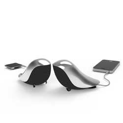 Wrenz Speakers by Gavio look like tiny bird sculptures.
