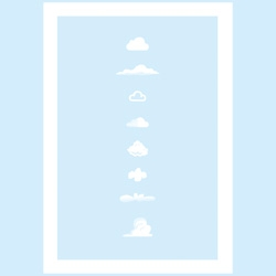 Famous Clouds print featuring iconic stylized clouds by Yoni Alter.